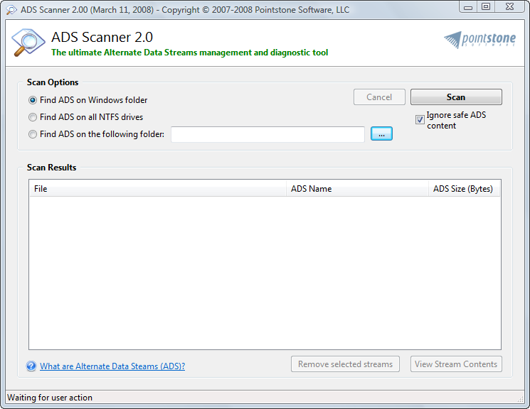 Click to view ADS Scanner 2.01 screenshot